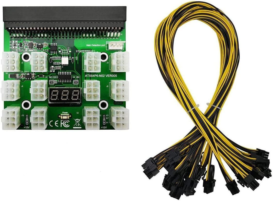 Tekit Ethereum Mining ETH ZEC LTC 1200W/750W Server PSU Power Supply Unit to GPU Breakout Board Adapter + 12pcs 6-Pin PCIe to (6+2Pin) PCIe Graphics Card Power Cables (GPU Breakout Board+12PCS Cable)