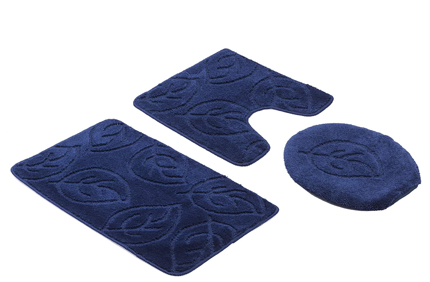 Home Must Haves 3-Piece Bath Mat Lid Cover and Contour Rug Set-Hunter Green-Leaf Floral 18 x 29,