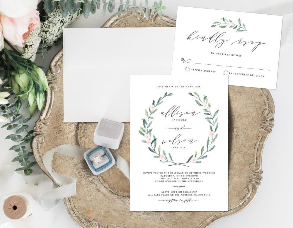 Leafy Wedding Invitation, Greenery with Flowers Wedding Invitation, Simple Leaves Wedding Invitation