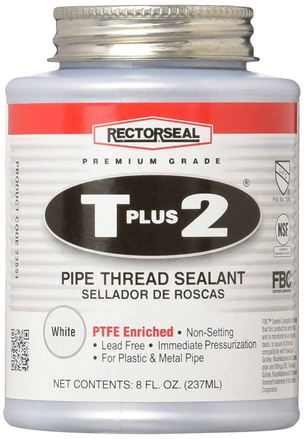 Rectorseal 23551 T Plus 2 Pipe Thread Sealant with PTFE, 1/2 pt Brush Top