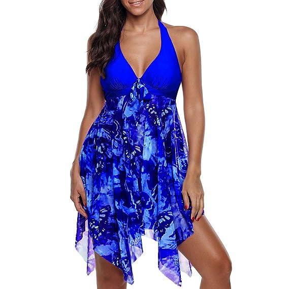 PARVAL Bikinis de Talla Grande para Mujeres Vestido de baño Elegante Traje de baño con Falda Vestido de baño Ropa de Playa Ropa de baño Acolchada ...