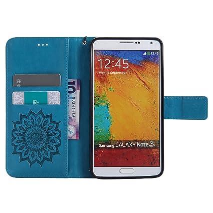 Funda Samsung Galaxy Note 3, Carcasa Samsung Galaxy Note 3, JAWSEU Samsung Galaxy Note 3 Tapa Trasera Carcasa Diseño Floral en Relieve Cuero Billetera ...