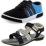 Tempo Men's Combo Pack of 1 Shoes and 1 Sandal(BR1/SPR54G/B)