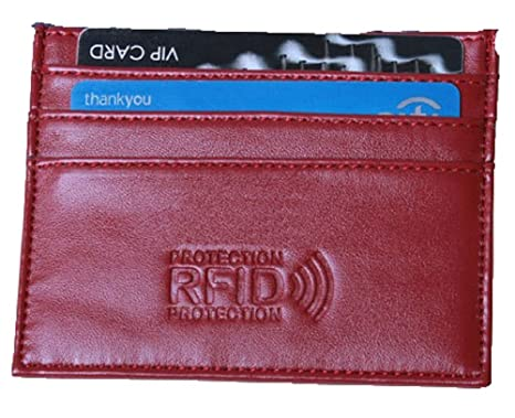 cc6cb655a2 URAQT Sottile RFID Blocco Tasca Frontale Portafoglio in Pelle Custodia  Porta carte di credito