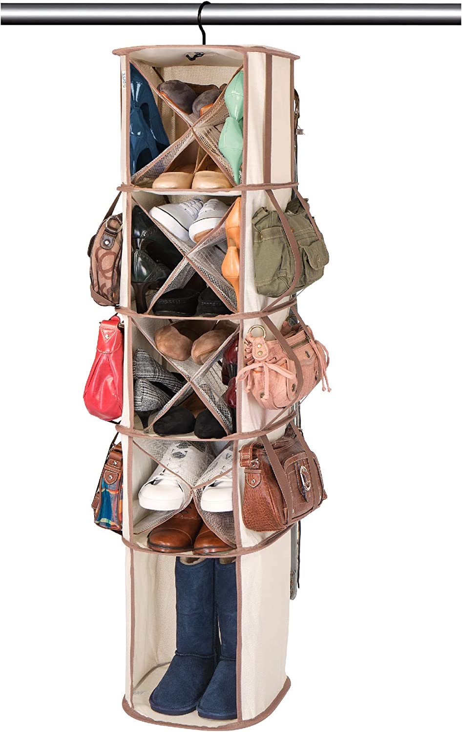 Smart Design Hanging Smart Carousel Organizer w/ Pockets & Steel Metal Hook - 360 Degree Swivel - Heavy Duty Fabric - Clothing, Shoes, & Closet - Home Organization (5-Tier, 16-Pockets)