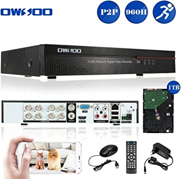 1TB Disco Duro Grabaci/ón Audio Control M/óvil Detecci/ón de Movimiento Alarma Email PTZ para C/ámara CCTV OWSOO 8CH DVR Grabador de Video Full 960H//D1 H.264 HD P2P