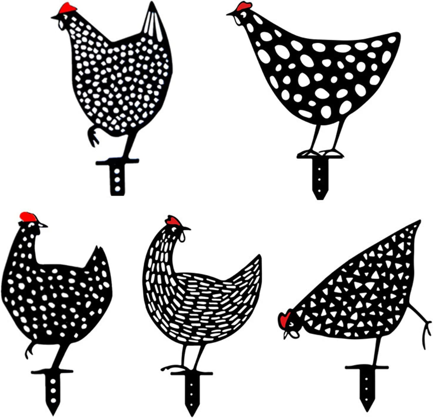5 Pcs Chicken Runs for Yard, Chicken Yard Art, Decorative Lifelike Rooster Garden Stakes, Acrylic Chicken Statue Garden Yard Decor, Outdoor Chicken Shape Art Sculpture Rooster Statue for Lawns Gardens