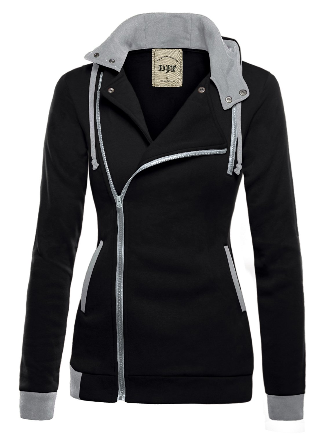 DJT Womens Oblique Zipper Slim Fit Hoodie Jacket Medium Black