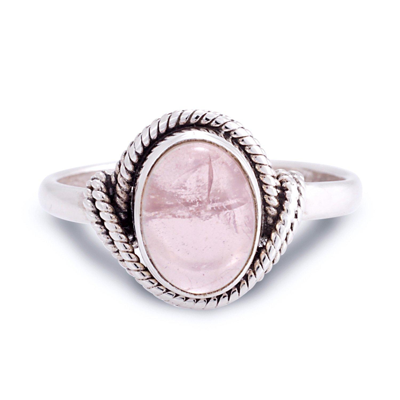 8 Chuvora 925 Sterling Silver Rose Quartz Gemstone Oval Rope Edge Vintage Band Ring Size 6 7