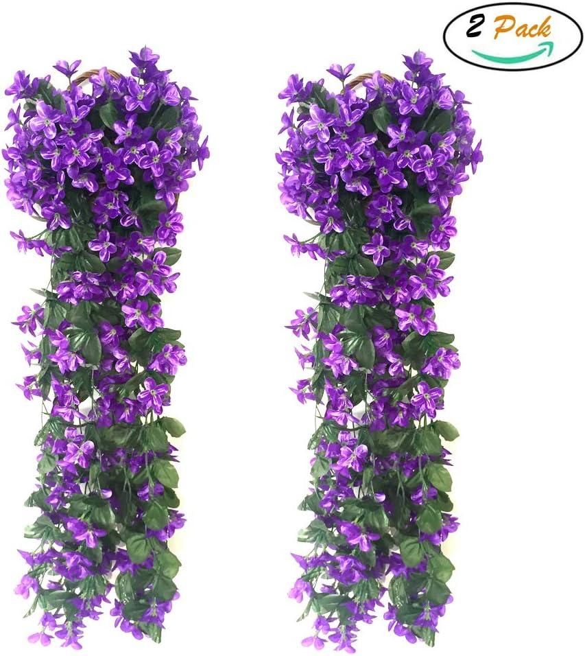 FUJIE 2 Piezas Artificiales De Colgantes Plantas Simulation Violet Flower Wisteria artificial para colgar con hojas verdes Decoración para Boda Fiesta - Púrpura