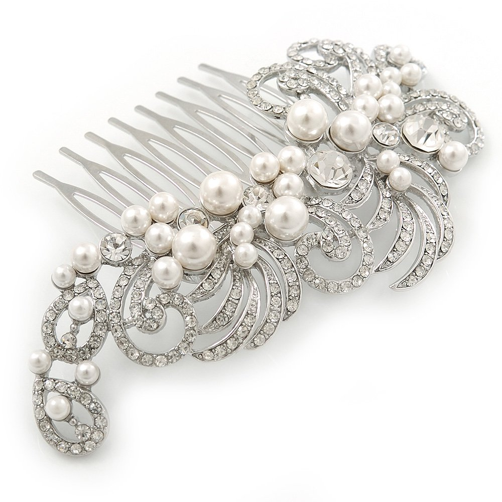 Bridal/ Wedding/ Prom/ Party Rhodium Plated Clear Crystal, Simulated Pearl 'Feather' Hair Comb - 100mm by Avalaya
