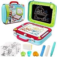 Vanplay Pizarra Mágica para Niños, 2 en 1 Caballete Doble Cara Bibujo Tablero del Doodle Magneticos de los Niños para 3…