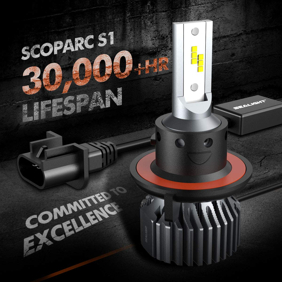 SEALIGHT Scoparc S1 H13//9008 LED Headlight Bulbs,High Beam and Low Beam,6000K Bright White,Halogen Replacement,Quick Installation