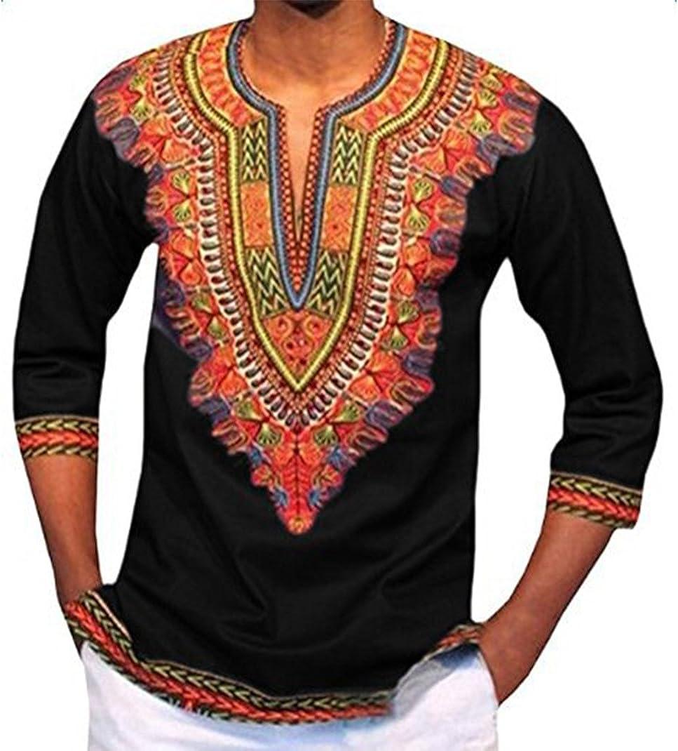 Gentle Men Dashiki Print African Long Sleeve Shirt Tribal Hippie Top Blouse Tee