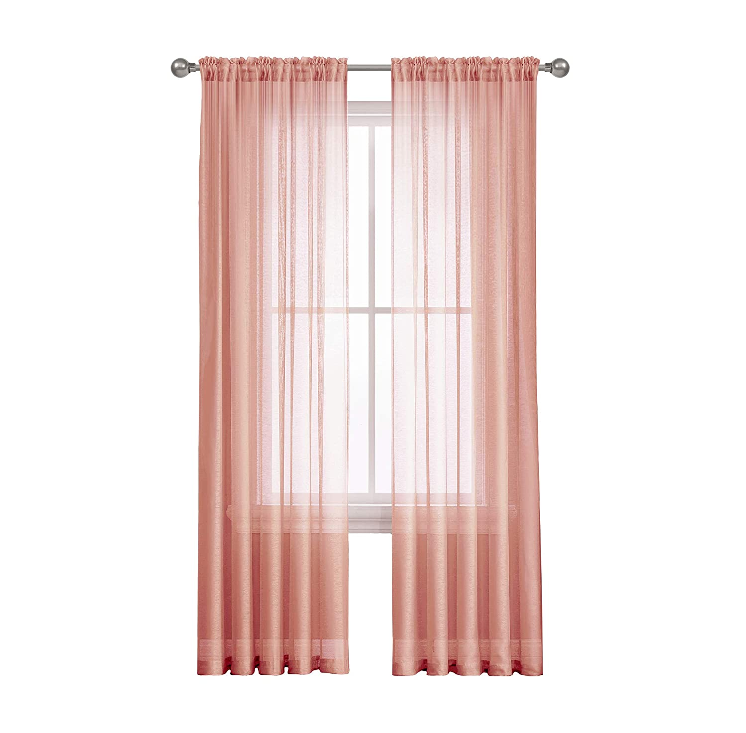 "Jane - Rod Pocket Semi-Sheer Curtains - 2 Pieces - Total Size 108"" W x 63"" L - Natural Light Flow Material Durable - for Bedroom - Living Room - Kid"