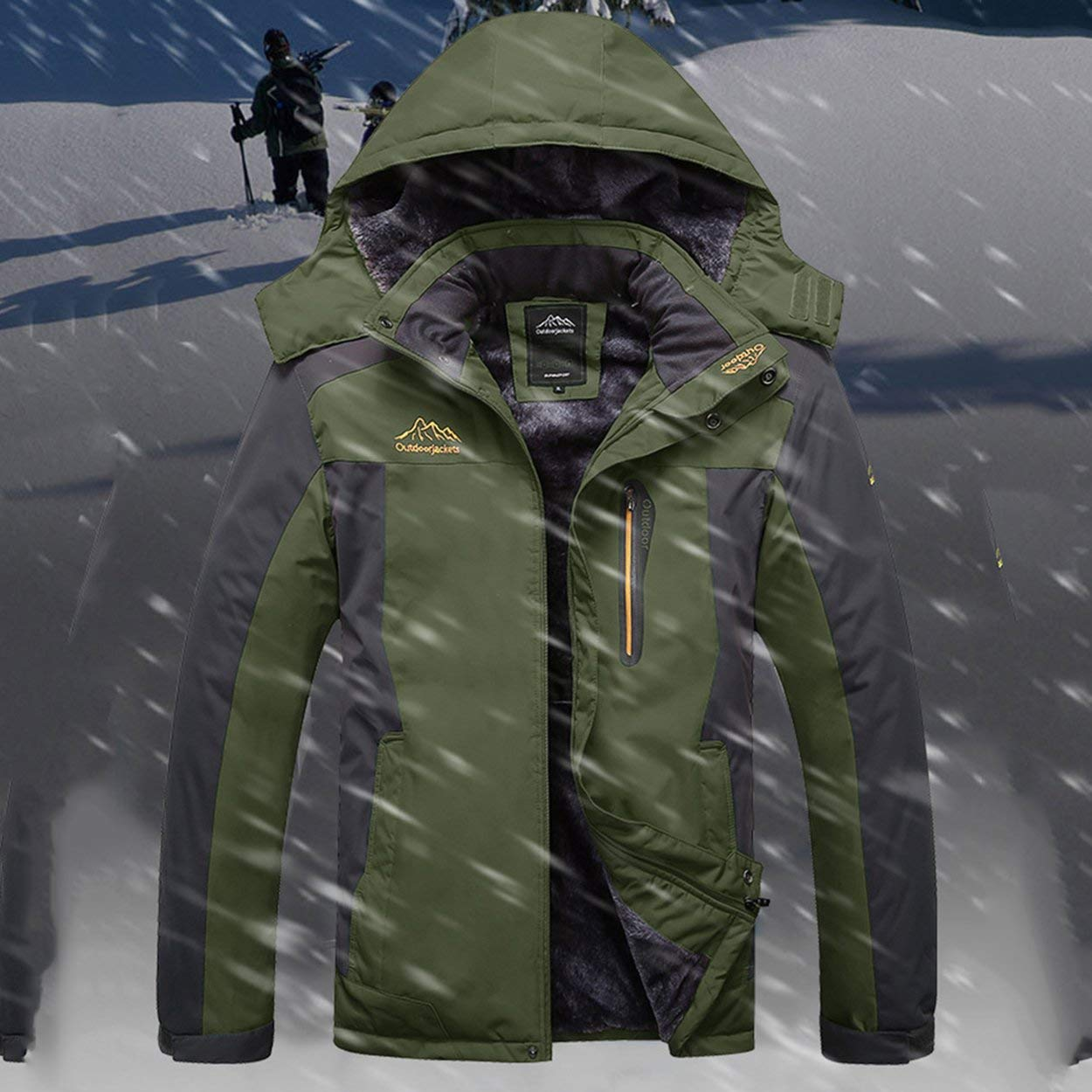 Armée verte XXL Lorenlli Hommes Femmes Hiver Chaud Ski Veste à Capuche Alpinisme en Plein Air Manteau Coupe-Vent Manteau étanche Coupe-Vent Sportswear avec Fermeture à Glissière