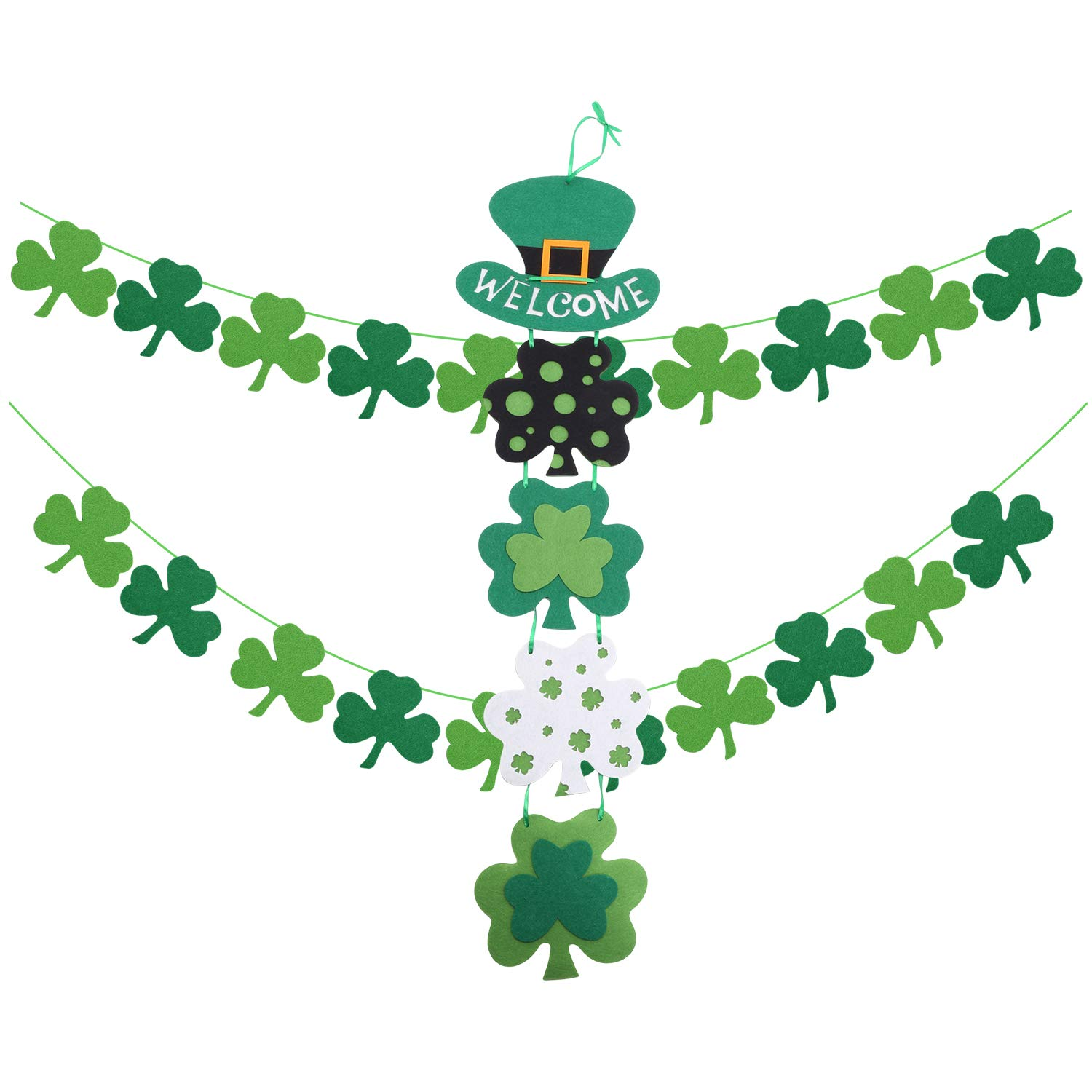 e7e2a3b235abc St. Patrick's Day Decorations Sets Themed Hanging Welcome Sign and 2  Strings of Felt Shamrock Clover Garland Banner- St. Patrick 's Day Banner  Decor - ...