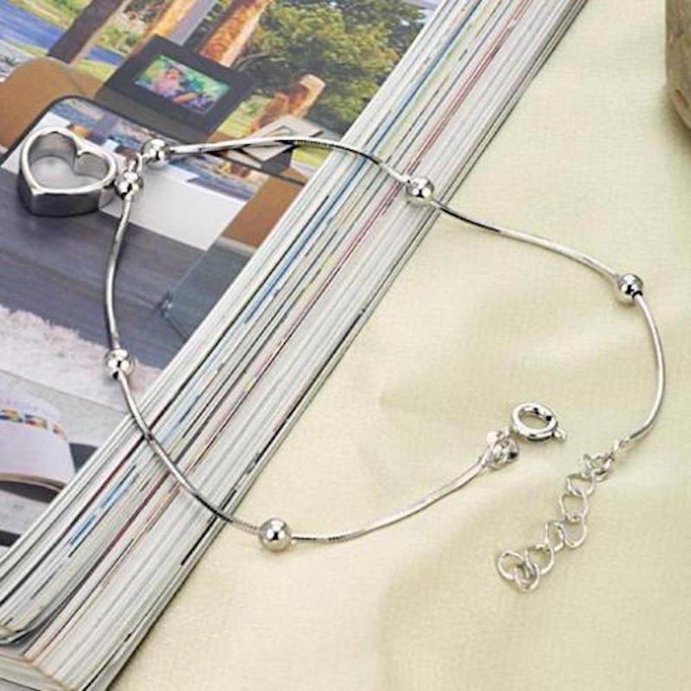 Kim Johanson Edelstahl Damen Fu/ßkettchen *Lilli* Herz in Silber mit Einem Extra Starken Federringverschluss inkl Schmuckbeutel