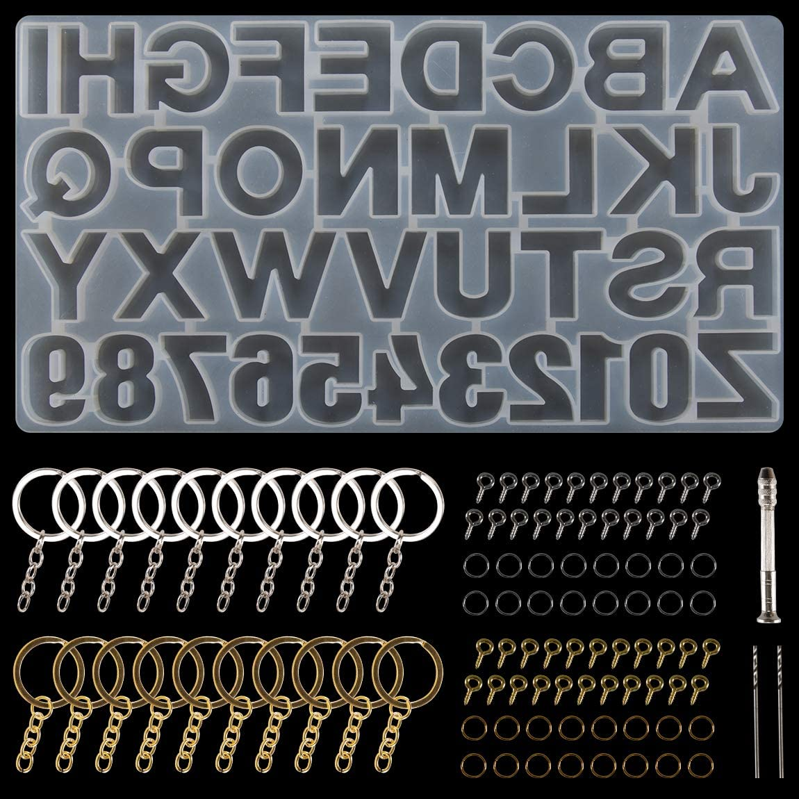 Necklace Suhome Letter Resin Molds Backward Alphabet Number Resin Silicone Molds Epoxy Resin Jewelry Molds for Keychain Craft Decoration /… Earrings