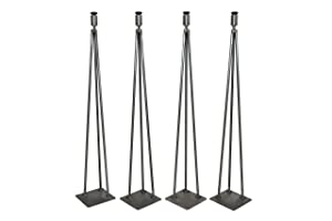 Hairpin Leg, Metal Table Leg Set of (4),Modern Industrial, 3-Rod Hairpin Leveling Legs - Raw Steel - 16 inch high to 40 inch high - FREE SHIPPING