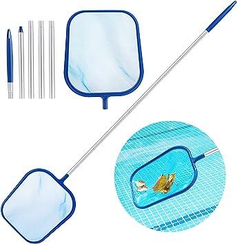 Aiglam Recogehojas de Piscina, Kits de Mantenimiento con Red de Malla Fina y Mango de aluminio de 120cm, Pool Skimmer Net para Recoger Hojas y Suciedad del Fondo: Amazon.es: Jardín