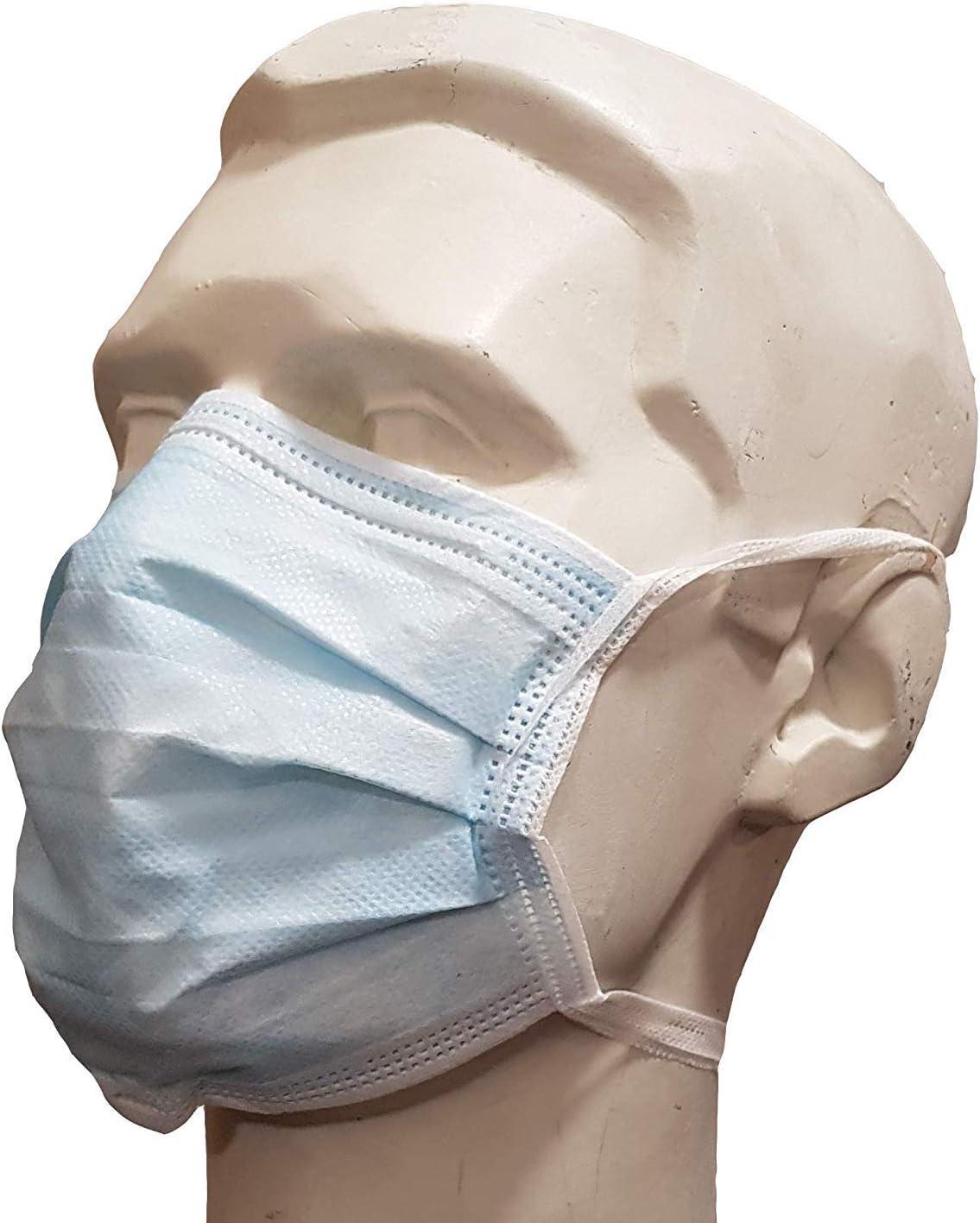 Máscaras faciales Desechables de 3 Capas con Bucle para la Oreja, Talla única, 10 máscaras en Bolsa con Cierre hermético, Azul