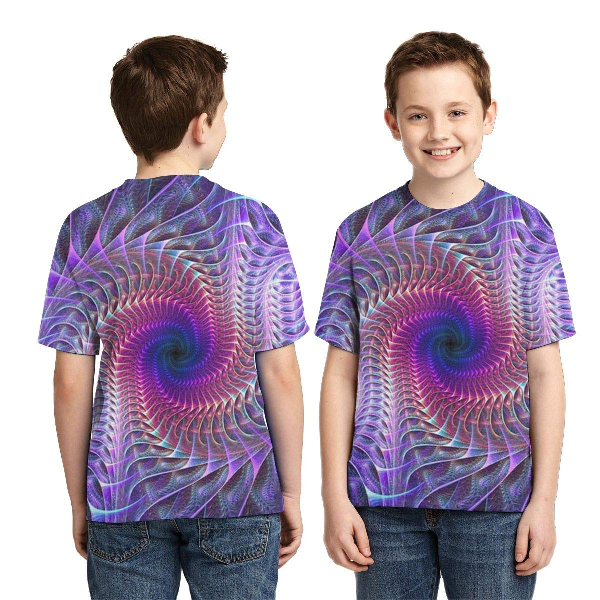 Boys Short Sleeve Spiral Purple Tie Dye Psychedelic Trippy Art Kids 3D Graphic Printed T-Shirt Crewneck Shirt Tees