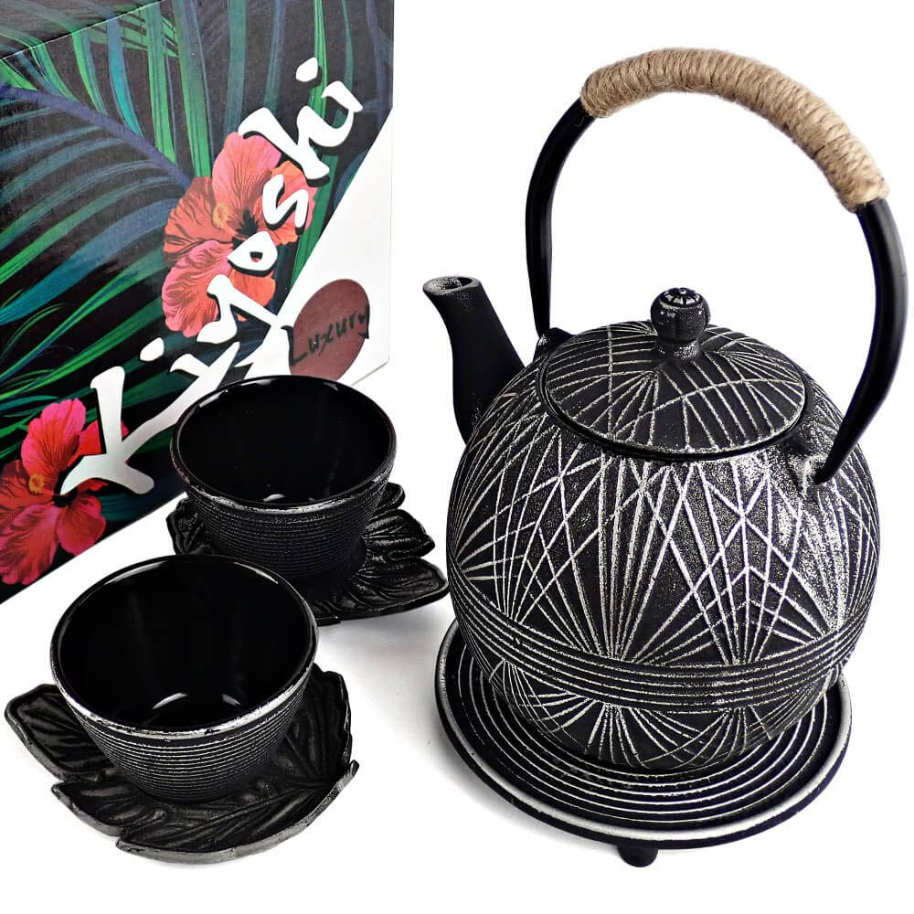 KIYOSHI Luxury Japanese Iron Tea Set 7 Pieces - Black and Silver - NEW COLLECTION 2019 - Teapot (1L - 33,81Oz) + Lid + Filter + 2 Large Iron Cups (120ml - 4.05Oz) + 2 Iron Leaf Saucers + Trivet