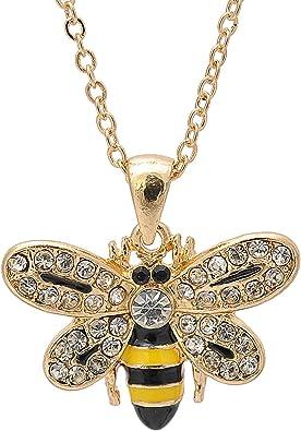 Bumble Honey Bee Necklace Gold-Tone Crystal Enamel Black Yellow