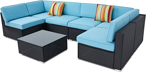 SUNCROWN Outdoor Furniture 7-Piece Patio Sofa Set All-Weather Black Wicker Seat Cushions with YKK Zippers and Glass Coffee Table, Waterproof Cover