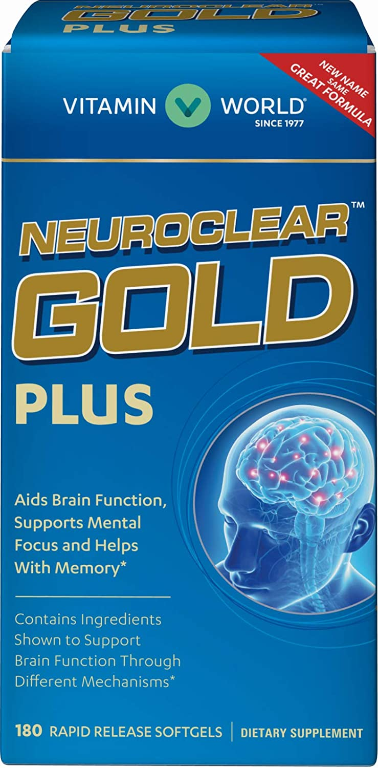 Vitamin World NeuroClear™ Gold Plus | Rapid Release Brain Support Supplement feat. Phosphatidylserine | Supports Memory & Focus for Overall Mental Health & Function, 180 Softgels