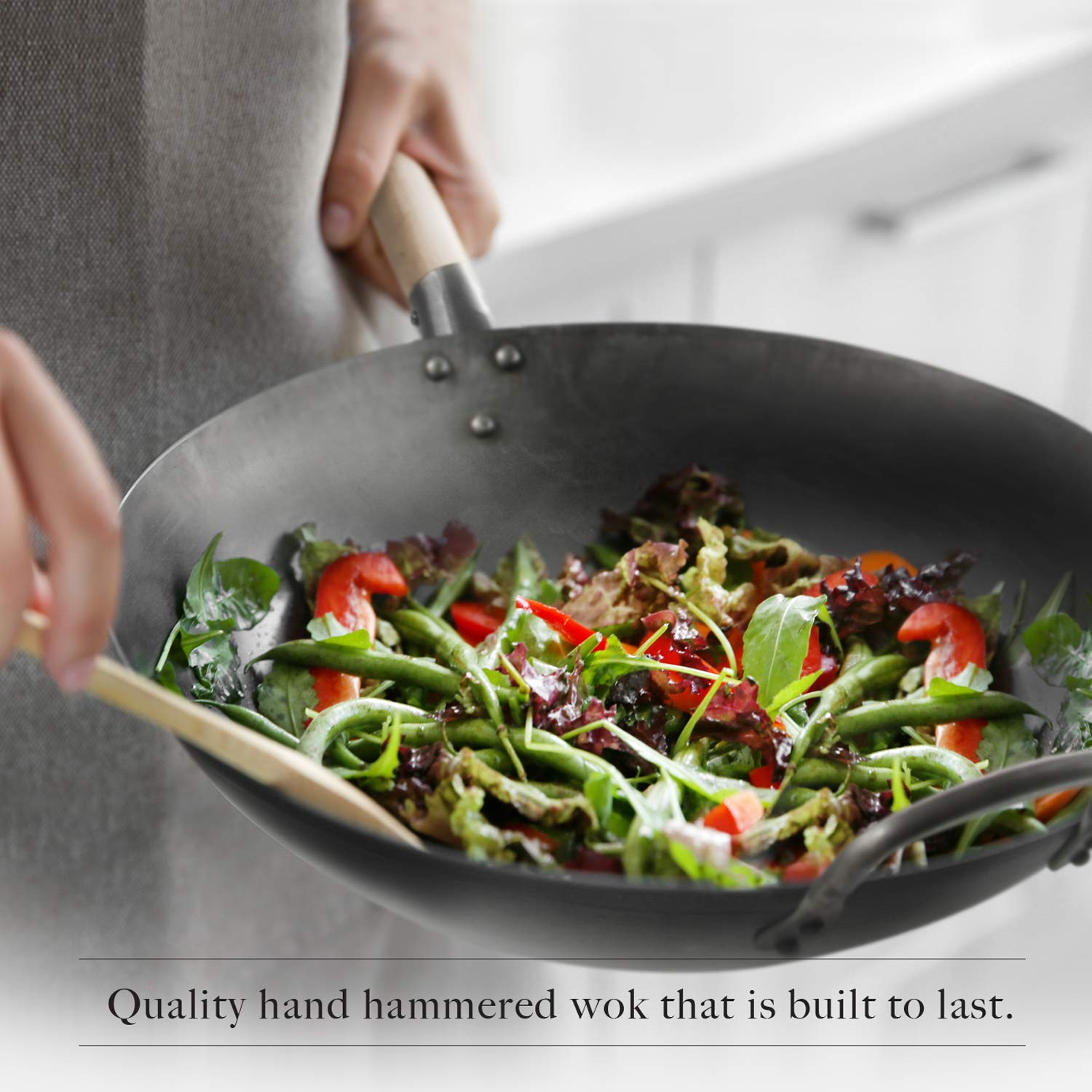 Flat Bottom Wok, Traditional Hand Hammered Wok, 14 Inch Carbon Steel Chinese Pow Wok by Mammafong by Mammafong (Image #6)