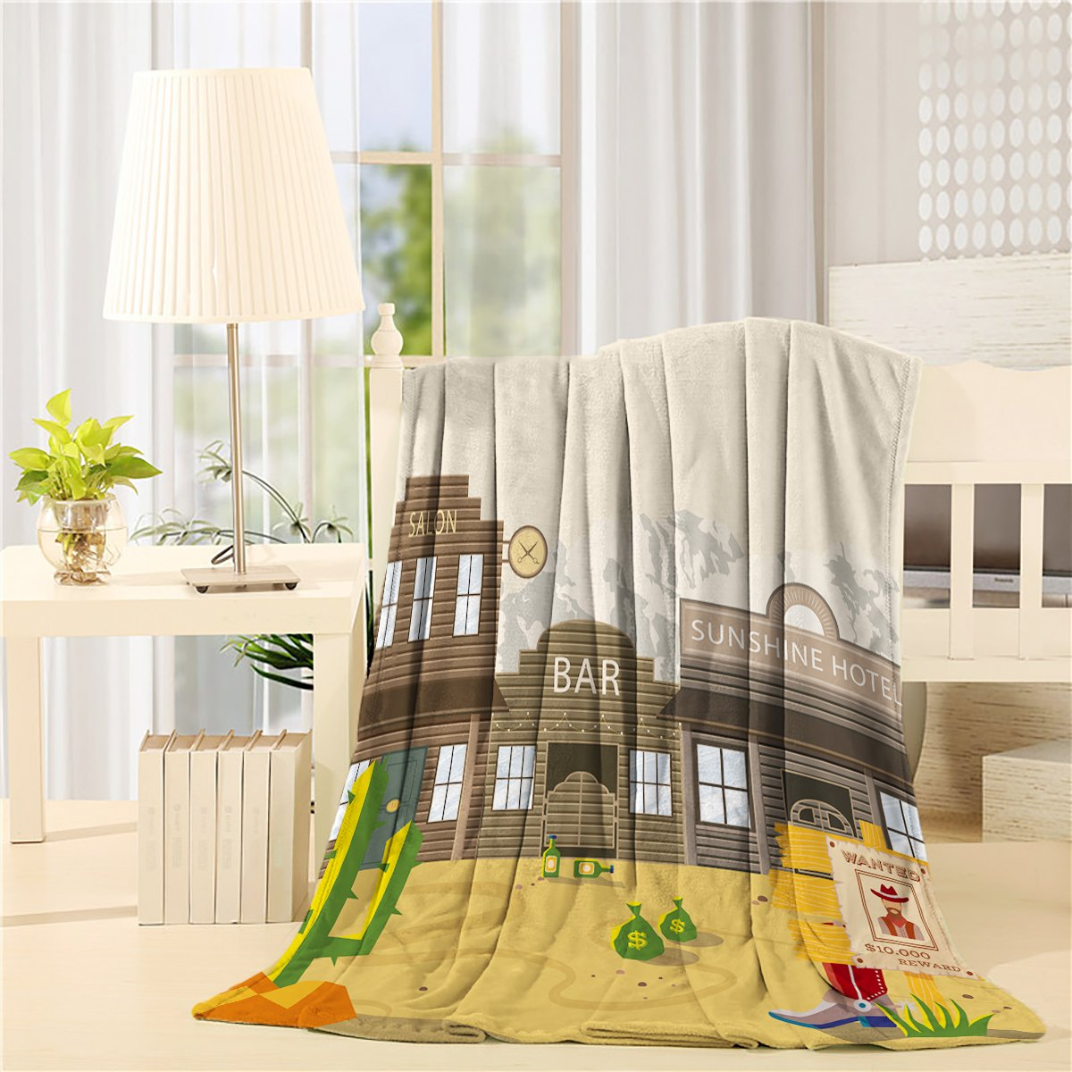 COLORSUM Flannel Fleece Throw Blanket 40 x 50 inch Printed Soft Plush Blanket for Bedroom Living Room Couch Bed Sofa - Desert Salon Bar Hotel with Cactus Beverage Bottle Leather Boots