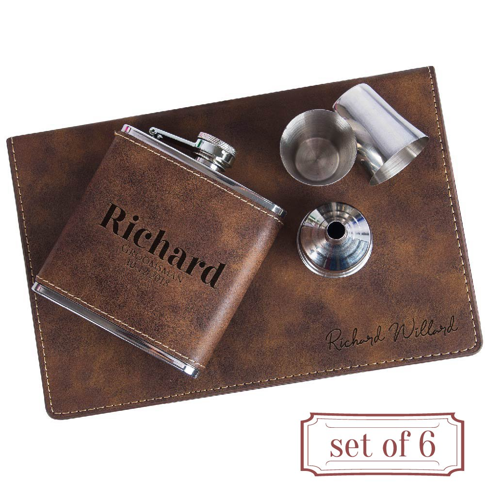 Set of 6 - Personalized 6oz Leatherette Flask Groomsmen Gift Set Engraved Flask Groomsman Gifts Personalized Flask Groomsman Kit, Wedding Favor Customized Flask for Liquor | Rustic #1