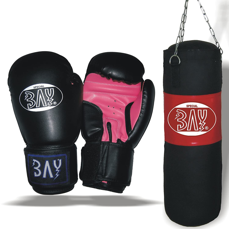 BAY® STAR Boxset 80 cm gefüllt Sandsack Boxhandschuhe Boxsack Box-Set Handschuhe