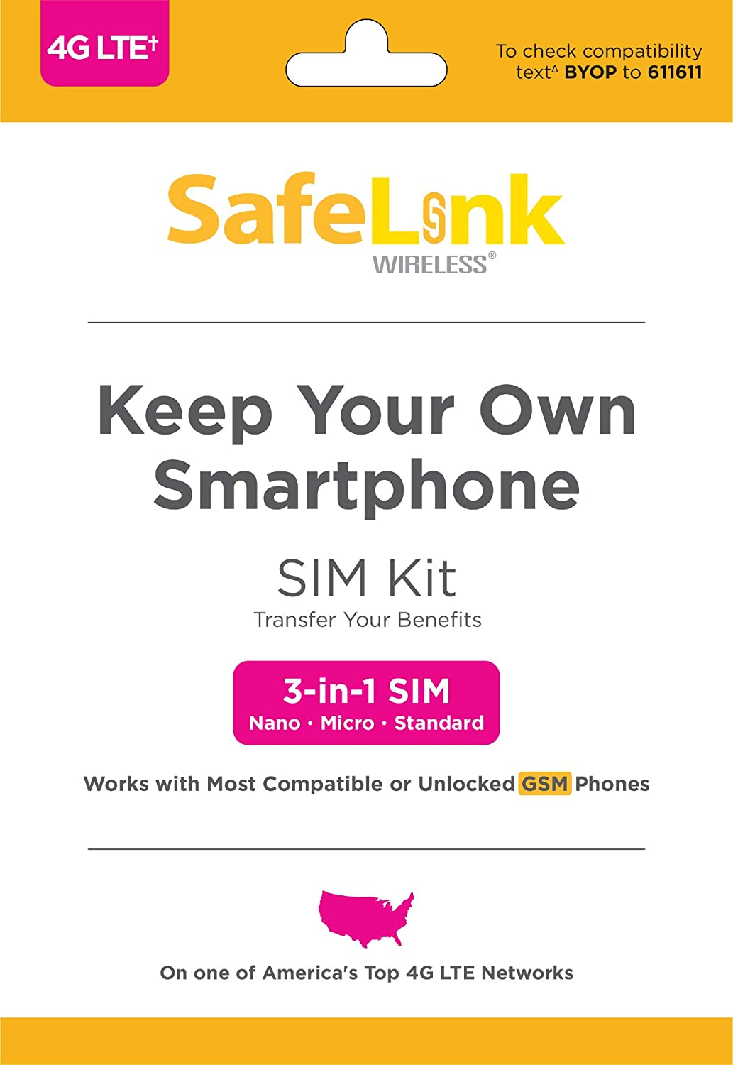 SafeLink Keep Your Own Phone SIM Kit - T-Mobile Compatible - Existing Service Required