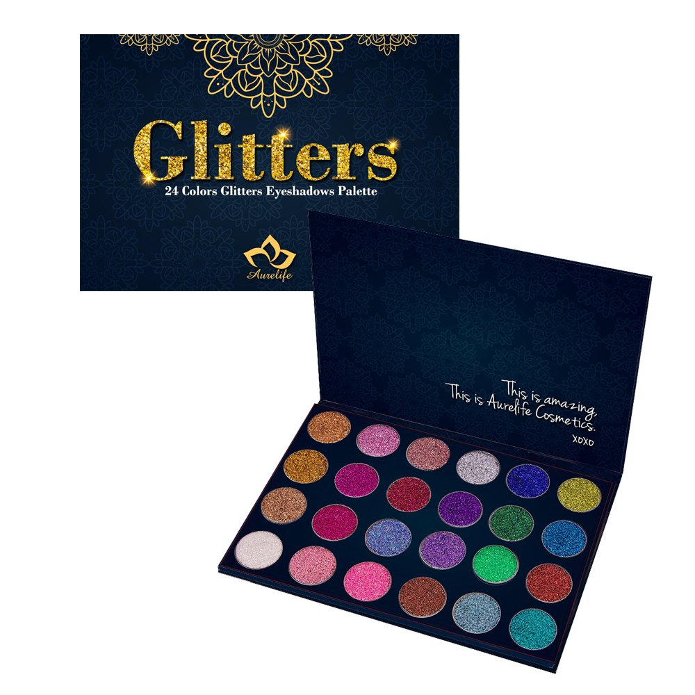 24 Colors Eyes Makeup Glitter Highly Pigmented Mineral Pressed Glitter Colorful Makeup Eye Shadow Flash Glitter Eyeshadow Palette AURELIFE