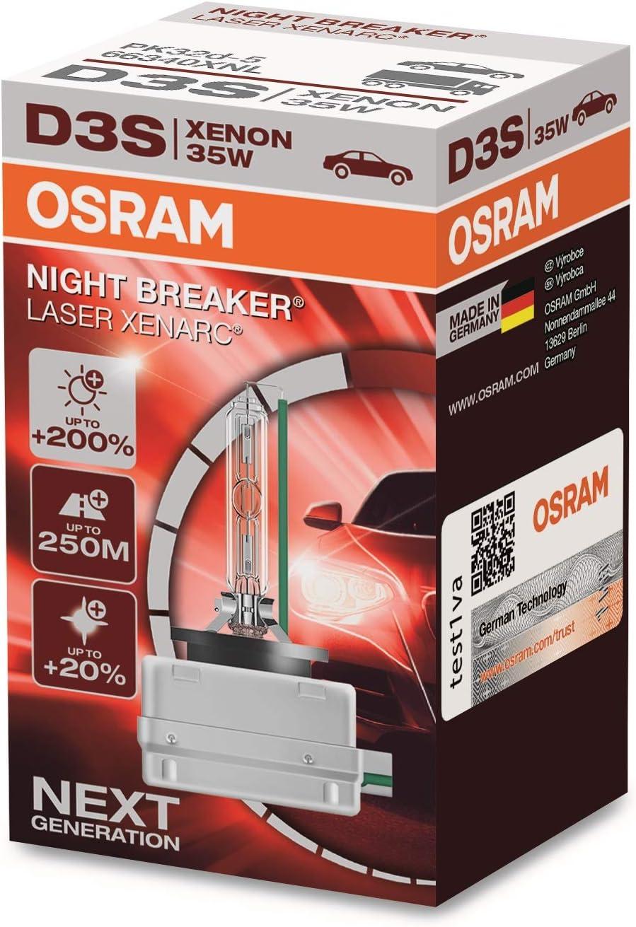 Osram Xenarc Night Breaker Laser D3s 200 Mehr Helligkeit Hid Xenon Scheinwerferlampe 66340xnl Faltschachtel 1 Lampe Auto