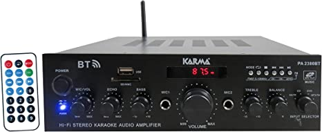 con Telecomando Nero 2 x 50W RMS Karma PA 2380 Amplificatore a 4 ingressi