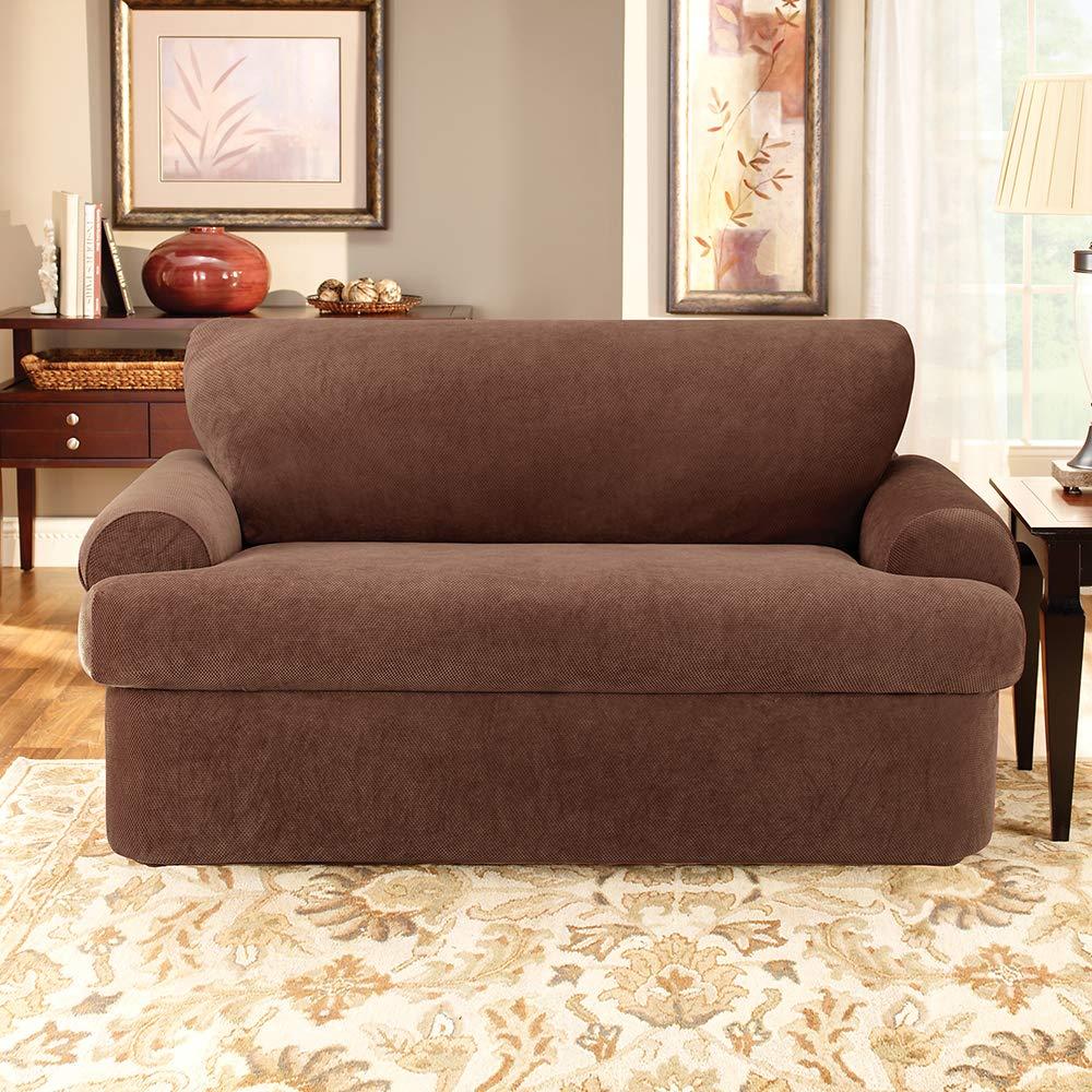 Chocolate SF37934 Surefit Stretch Pique 3-Piece Sofa Slipcover