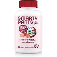 SmartyPants Kids Formula Cherry Berry Daily Gummy Vitamins: Gluten Free, Multivitamin & Omega 3 Fish Oil (Dha/Epa), Methyl B12, Vitamin D3, Vitamin B6, 90Count (22 Day Supply) - Packaging May Vary