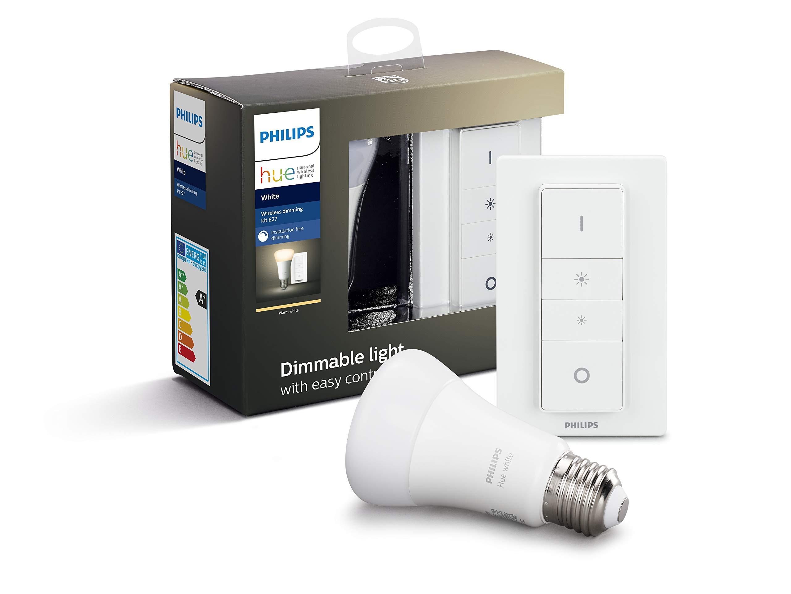 Philips Hue Bombilla Inteligente LED E27 con Mando Inalámbrico, con Bluetooth, Luz Blanca Cálida, Compatible con Alexa y Google Home