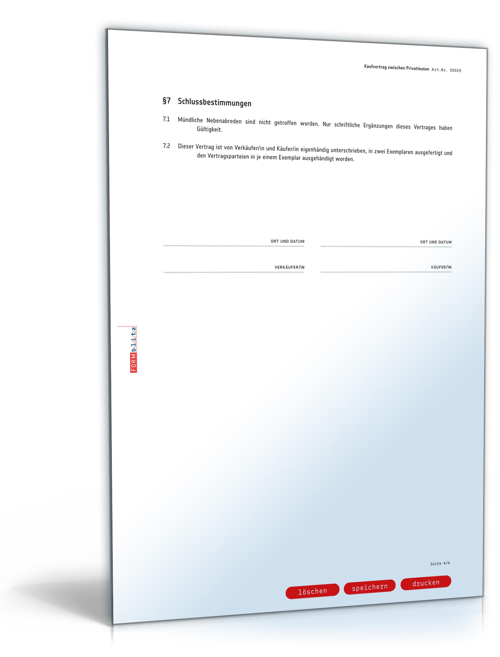 Kaufvertrag - Vertrag zwischen Privatleuten (PDF) [Download]: Amazon ...