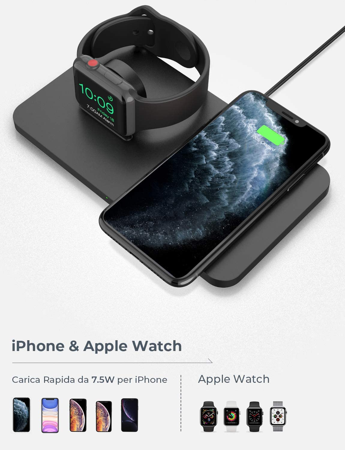 No Magnetic Charging Cable Seneo 2 in 1 Wireless Charging Pad with iWatch Stand for iWatch 5//4//3 Wireless Charger 7.5W for iPhone 11//Pro Max//XR//XS Max//XS//X//8//8P//Airpods Pro with QC 3.0 Adapter