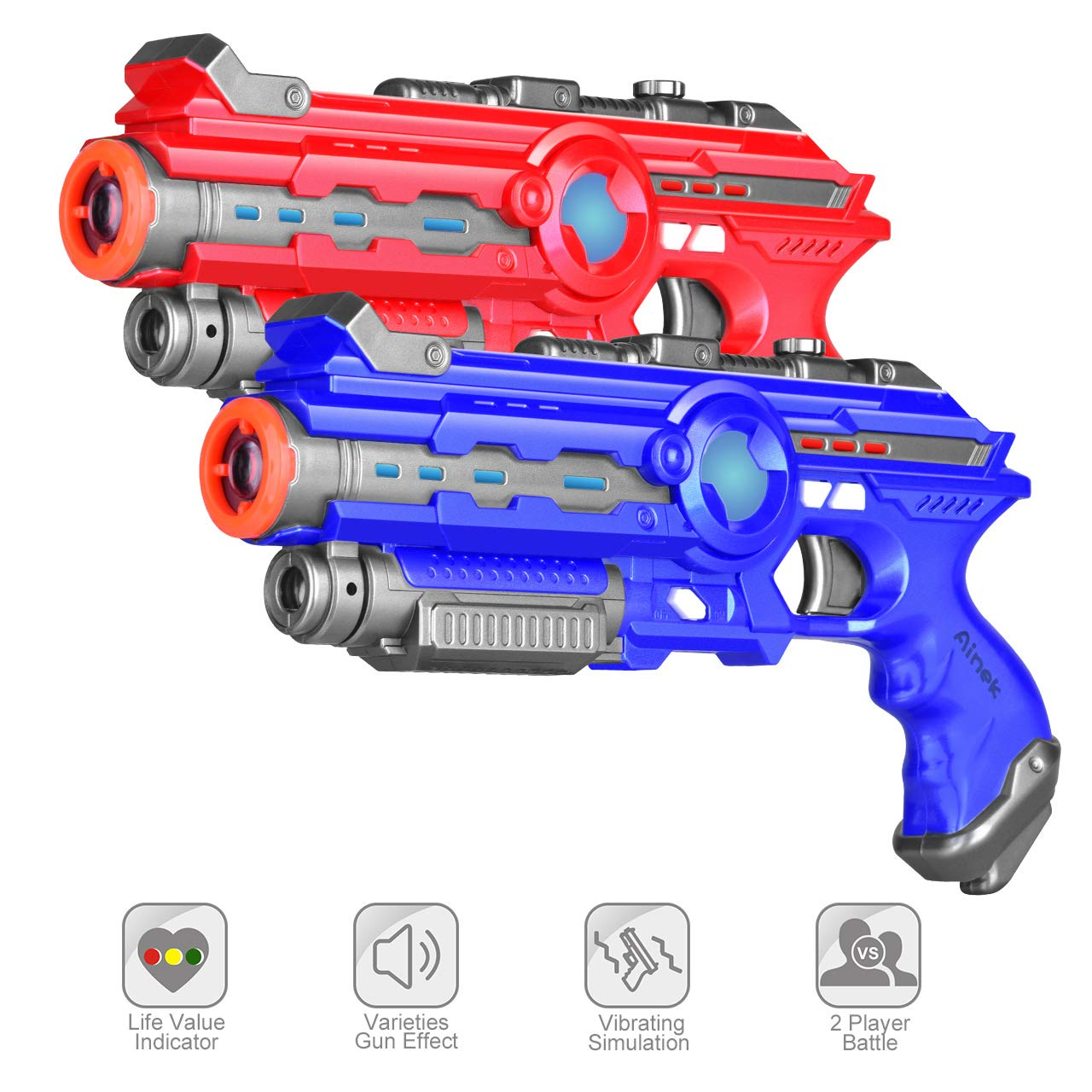 AINEK Infrared Laser Tag Blasters - 4 Gun Setting Infrared Laser Tag for Kids and Adults - Outdoor & Indoor Infrared Laser Tag Action Game 2 Packed Birthday & Children's Day Gift - Infrared 0.9mW