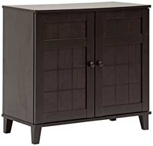 Baxton Studio Glidden Wood Modern Shoe Cabinet, Short, Dark Brown
