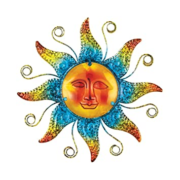 Metal Sun Wall Decor With Glass Beaded Accents, Blue