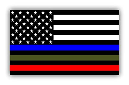 9b7a13f27 Police Military and Fire Thin Line USA Flag Decal American Flag Sticker  Blue Green and Red
