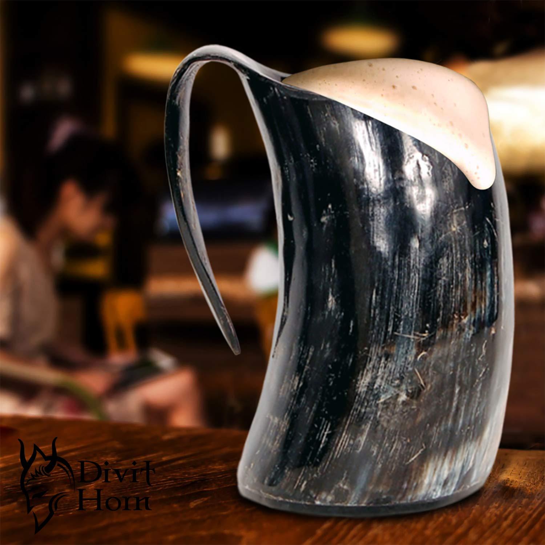 Divit Genuine Viking Drinking Horn Mug | Authentic Medieval Beer Horn Tankard | 24oz capacity | Highest quality horn Cup/Stein. (Original, Polished) by Divit Horn (Image #5)