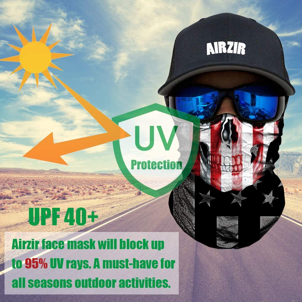 Airzir Outdoor Face Mask Breathable Seamless Tube Dust-proof Windproof UV Protection Motorcycle Bicycle ATV Face Mask for Motorcycling Cycling Hiking Camping Climbing Fishing Hunting Face-964